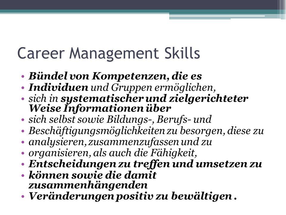 Career Management Skills Bündel von Kompetenzen, die es Individuen und Gruppen ermöglichen, sich in systematischer und zielgerichteter Weise Informati
