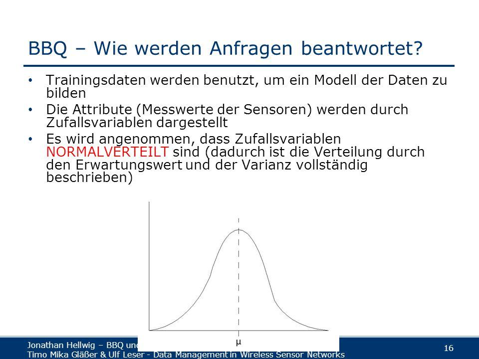 Jonathan Hellwig – BBQ und MauveDB Timo Mika Gläßer & Ulf Leser - Data Management in Wireless Sensor Networks 16 BBQ – Wie werden Anfragen beantwortet.