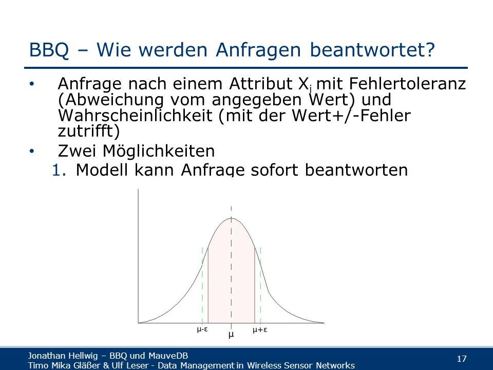 Jonathan Hellwig – BBQ und MauveDB Timo Mika Gläßer & Ulf Leser - Data Management in Wireless Sensor Networks 17 BBQ – Wie werden Anfragen beantwortet.