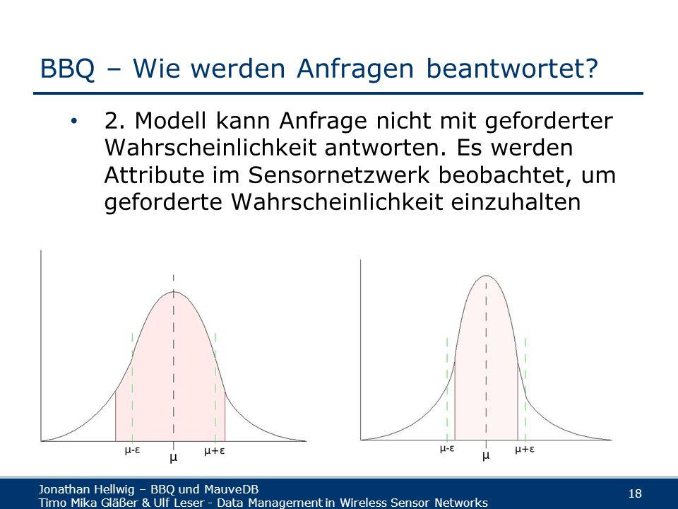 Jonathan Hellwig – BBQ und MauveDB Timo Mika Gläßer & Ulf Leser - Data Management in Wireless Sensor Networks 18 BBQ – Wie werden Anfragen beantwortet.
