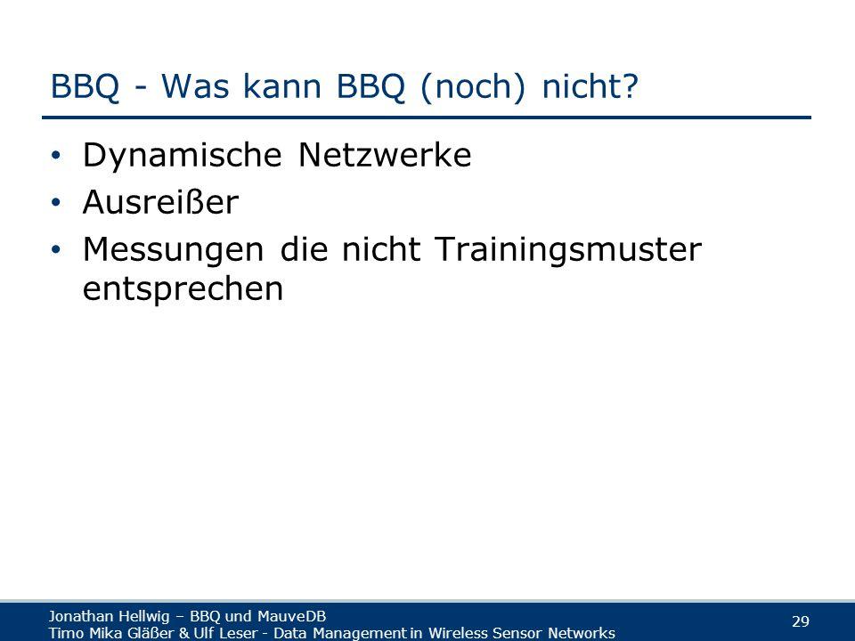Jonathan Hellwig – BBQ und MauveDB Timo Mika Gläßer & Ulf Leser - Data Management in Wireless Sensor Networks 29 BBQ - Was kann BBQ (noch) nicht.