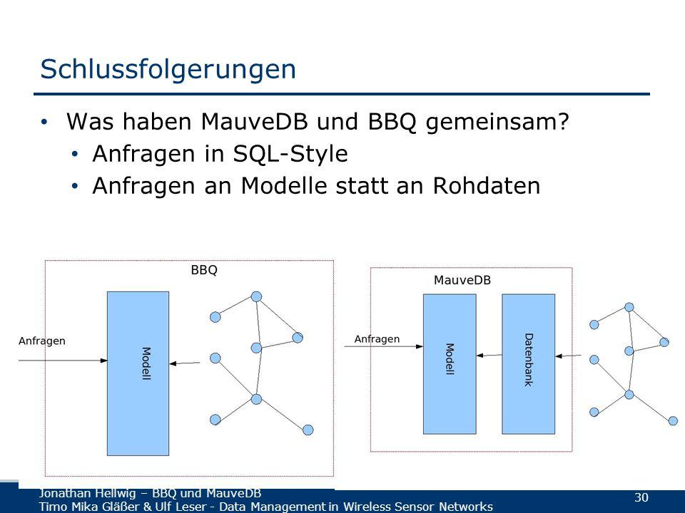 Jonathan Hellwig – BBQ und MauveDB Timo Mika Gläßer & Ulf Leser - Data Management in Wireless Sensor Networks 30 Schlussfolgerungen Was haben MauveDB und BBQ gemeinsam.