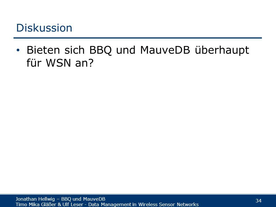 Jonathan Hellwig – BBQ und MauveDB Timo Mika Gläßer & Ulf Leser - Data Management in Wireless Sensor Networks 34 Diskussion Bieten sich BBQ und MauveDB überhaupt für WSN an