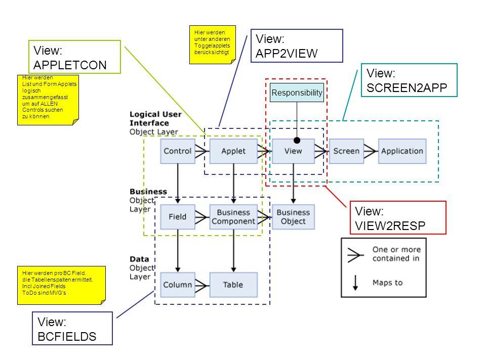 View: APPLETCON View: APP2VIEW View: BCFIELDS Responsibility View: SCREEN2APP View: VIEW2RESP Hier werden List und Form Applets logisch zusammengefasst um auf ALLEN Controls suchen zu können Hier werden unter anderen Toggelapplets berücksichtigt Hier werden pro BC Field.