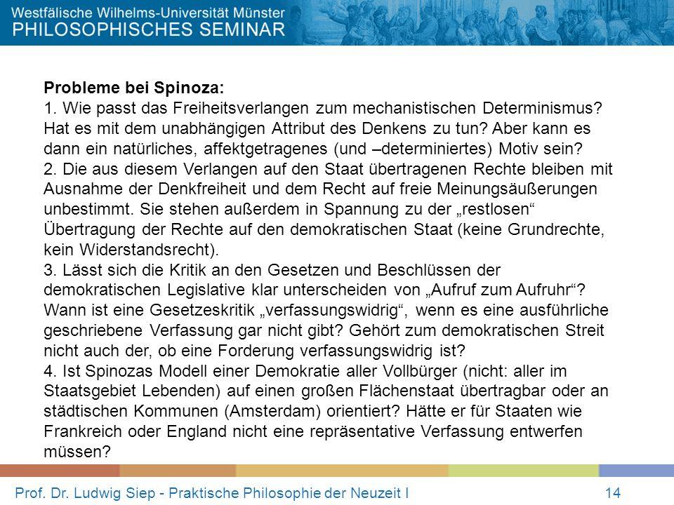 Prof. Dr. Ludwig Siep - Praktische Philosophie der Neuzeit I14 Probleme bei Spinoza: 1. Wie passt das Freiheitsverlangen zum mechanistischen Determini