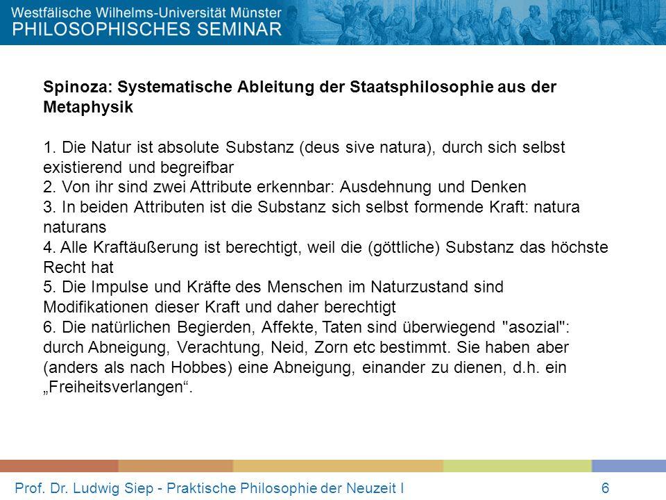 Prof. Dr. Ludwig Siep - Praktische Philosophie der Neuzeit I6 Spinoza: Systematische Ableitung der Staatsphilosophie aus der Metaphysik 1. Die Natur i