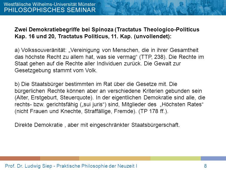 Prof. Dr. Ludwig Siep - Praktische Philosophie der Neuzeit I8 Zwei Demokratiebegriffe bei Spinoza (Tractatus Theologico-Politicus Kap. 16 und 20, Trac