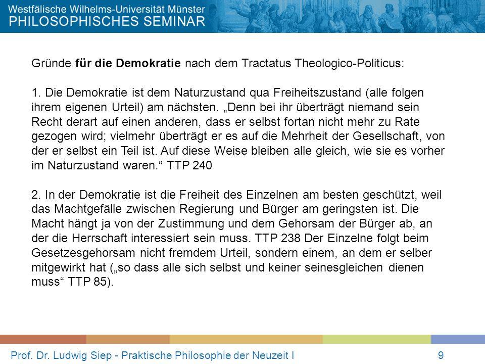 Prof. Dr. Ludwig Siep - Praktische Philosophie der Neuzeit I9 Gründe für die Demokratie nach dem Tractatus Theologico-Politicus: 1. Die Demokratie ist