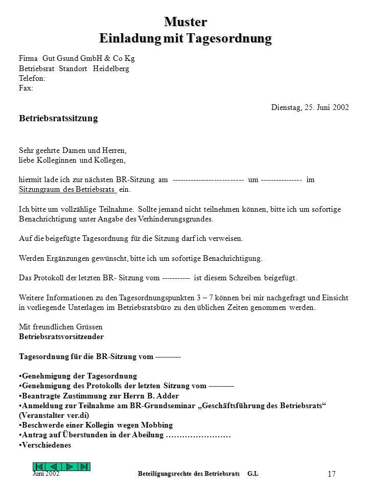Juni 2002Beteiligungsrechte des Betriebsrats G.L 16 Kündigungsschutz