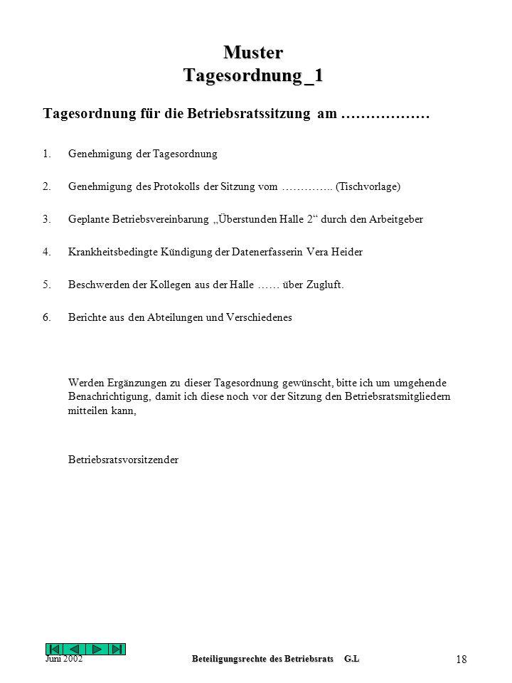 Juni 2002Beteiligungsrechte des Betriebsrats G.L 17 Muster Einladung mit Tagesordnung Firma Gut Gsund GmbH & Co Kg Betriebsrat Standort Heidelberg Tel