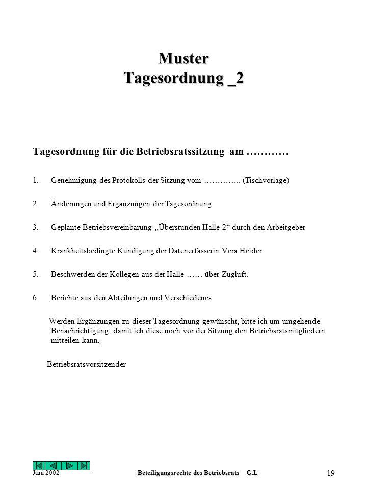 Juni 2002Beteiligungsrechte des Betriebsrats G.L 18 Muster Tagesordnung _1 Tagesordnung für die Betriebsratssitzung am ……………… 1.Genehmigung der Tageso