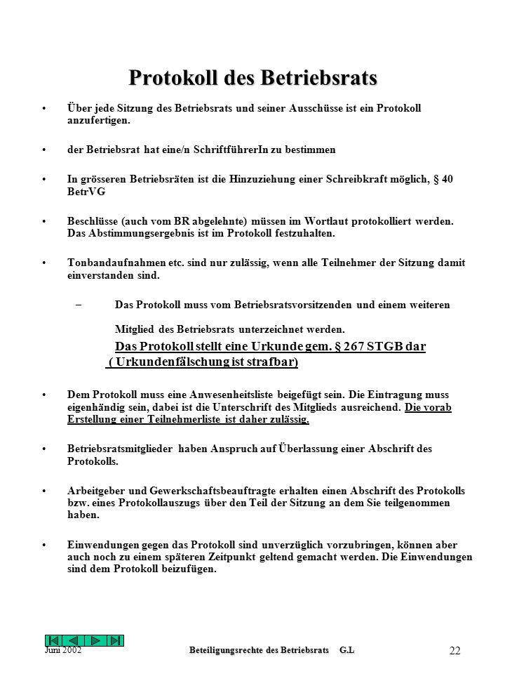 Juni 2002Beteiligungsrechte des Betriebsrats G.L 21 Muster Mitteilung an Arbeitgeber Firma Gut Gsund GmbH & Co Kg Betriebsrat Standort Heidelberg Tele