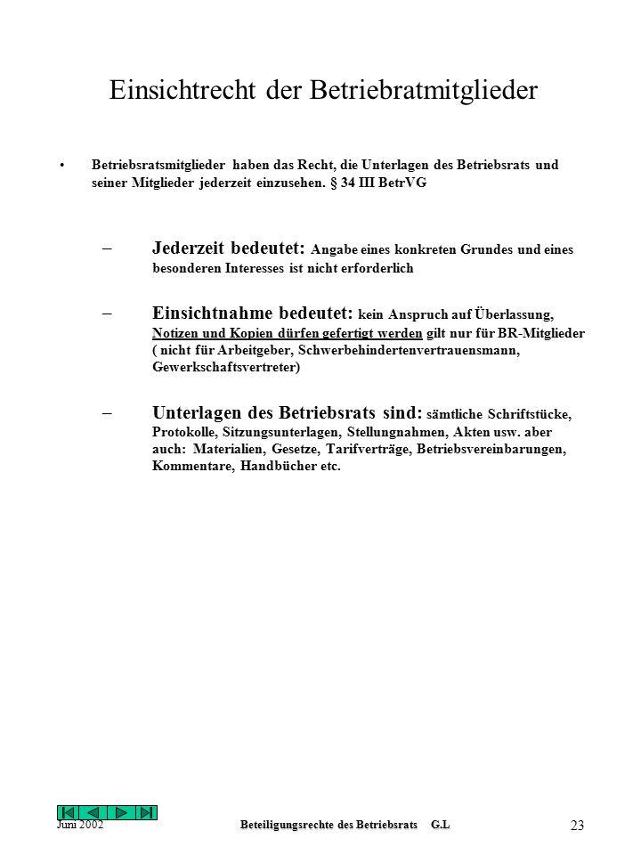 Juni 2002Beteiligungsrechte des Betriebsrats G.L 22 Protokoll des Betriebsrats Über jede Sitzung des Betriebsrats und seiner Ausschüsse ist ein Protok