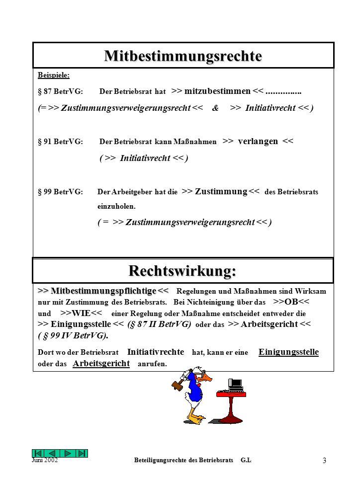 Juni 2002Beteiligungsrechte des Betriebsrats G.L 2 Beteiligungsrechte des Betriebsrats Informationsrechte Allgemeines Informationsrecht: § 80 II BetrV