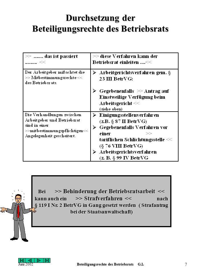 Juni 2002Beteiligungsrechte des Betriebsrats G.L 7 Durchsetzung der Beteiligungsrechte des Betriebsrats Bei >> Behinderung der Betriebsratsarbeit > Strafverfahren > Behinderung der Betriebsratsarbeit > Strafverfahren << nach § 119 I Nr.