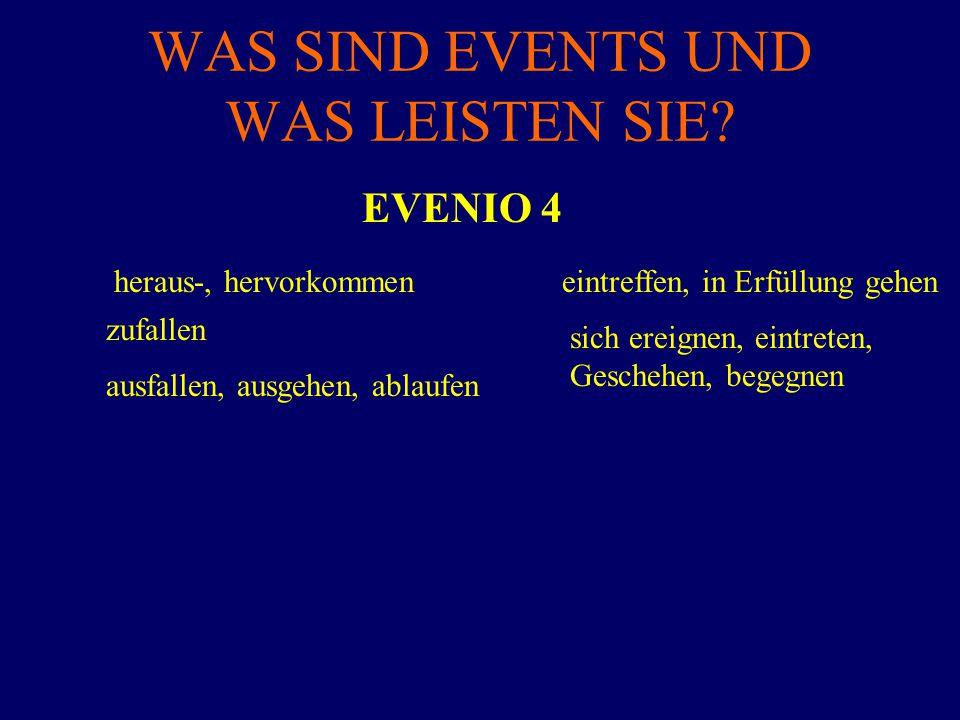 WAS SIND EVENTS UND WAS LEISTEN SIE? EVENIO 4 heraus-, hervorkommen zufallen ausfallen, ausgehen, ablaufen eintreffen, in Erfüllung gehen sich ereigne
