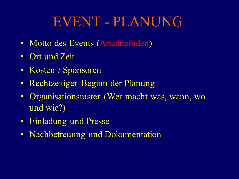 EVENT - PLANUNG Motto des Events (Ariadnefaden) Ort und Zeit Kosten / Sponsoren Rechtzeitiger Beginn der Planung Organisationsraster (Wer macht was, w