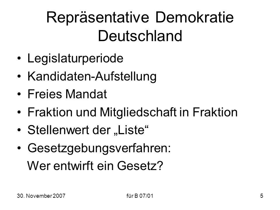 30. November 2007für B 07/015 Repräsentative Demokratie Deutschland Legislaturperiode Kandidaten-Aufstellung Freies Mandat Fraktion und Mitgliedschaft