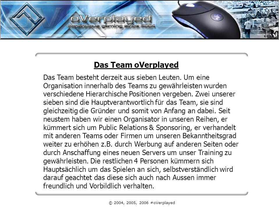 © 2004, 2005, 2006 #oVerplayed Das Team oVerplayed Das Team besteht derzeit aus sieben Leuten. Um eine Organisation innerhalb des Teams zu gewährleist