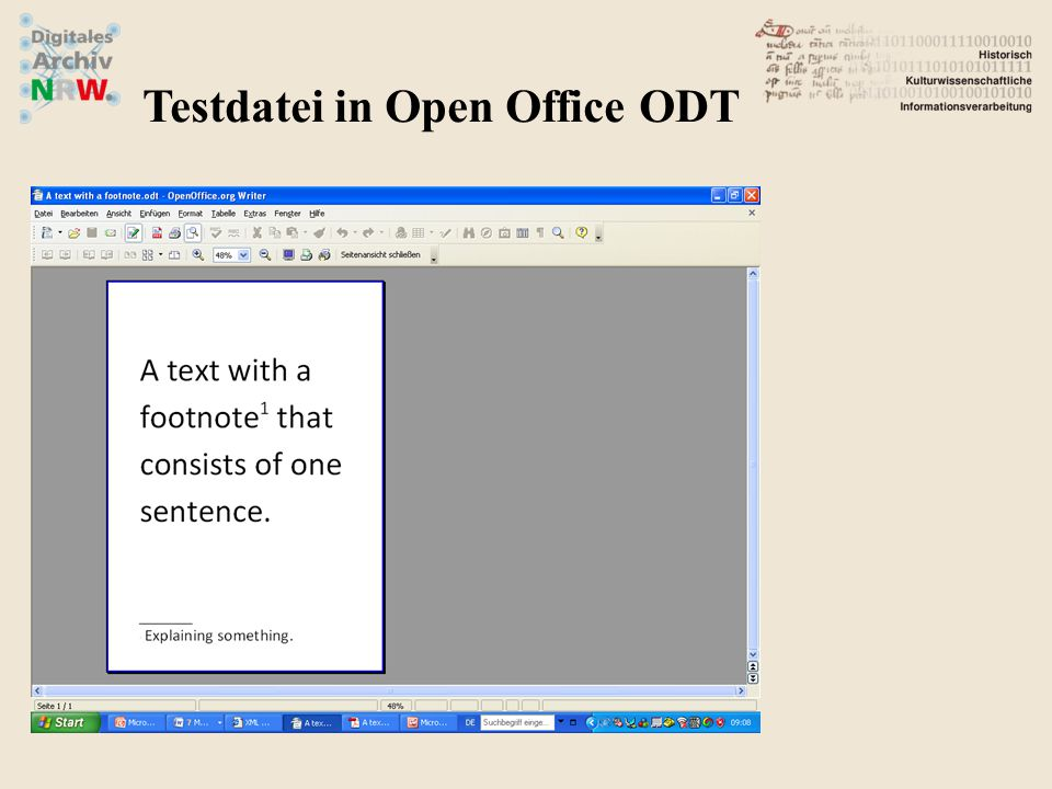 Testdatei in Open Office ODT