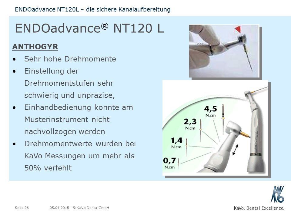 05.04.2015 - © KaVo Dental GmbHSeite 26 ENDOadvance NT120L – die sichere Kanalaufbereitung ENDOadvance ® NT120 L ANTHOGYR Sehr hohe Drehmomente Einstellung der Drehmomentstufen sehr schwierig und unpräzise, Einhandbedienung konnte am Musterinstrument nicht nachvollzogen werden Drehmomentwerte wurden bei KaVo Messungen um mehr als 50% verfehlt