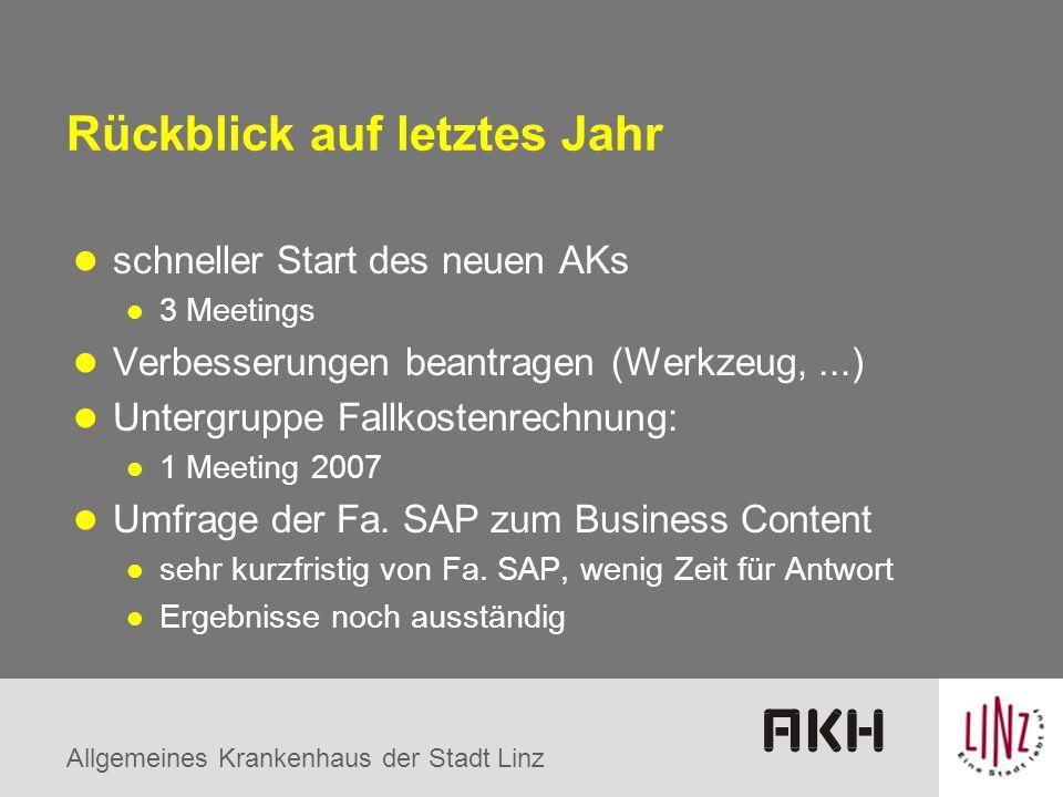 Allgemeines Krankenhaus der Stadt Linz Rückblick auf letztes Jahr schneller Start des neuen AKs 3 Meetings Verbesserungen beantragen (Werkzeug,...) Un