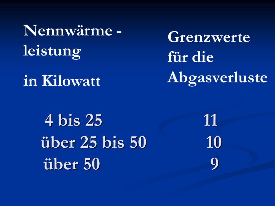4 bis 25 11 über 25 bis 50 10 über 50 9 Nennwärme - leistung in Kilowatt Grenzwerte für die Abgasverluste