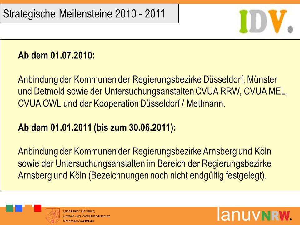Landesamt für Natur, Umwelt und Verbraucherschutz Nordrhein-Westfalen lanuv Ab dem 01.07.2010: Anbindung der Kommunen der Regierungsbezirke Düsseldorf