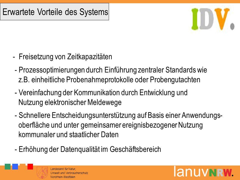 Landesamt für Natur, Umwelt und Verbraucherschutz Nordrhein-Westfalen lanuv Erwartete Vorteile des Systems - Freisetzung von Zeitkapazitäten - Prozess