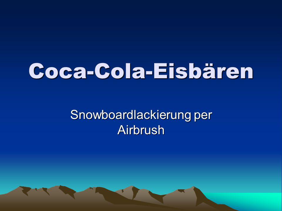 Coca-Cola-Eisbären Snowboardlackierung per Airbrush