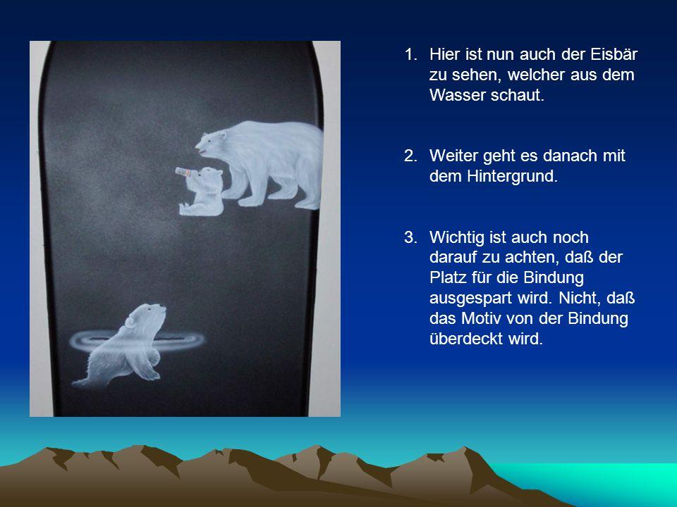 1.Hier ist nun auch der Eisbär zu sehen, welcher aus dem Wasser schaut.
