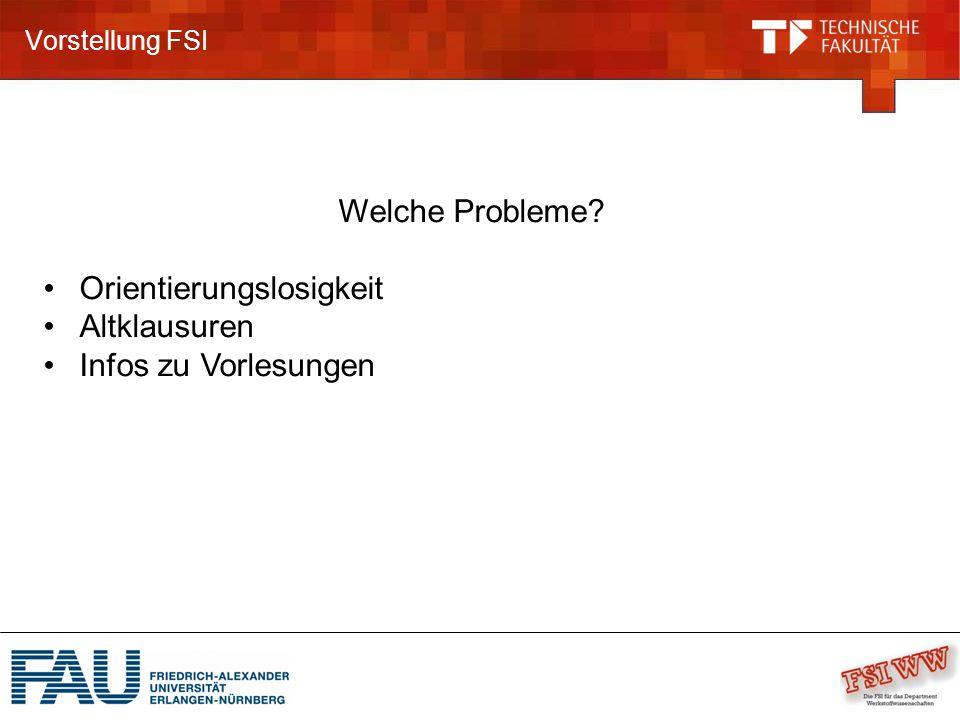 Vorstellung FSI Welche Probleme? Orientierungslosigkeit Altklausuren Infos zu Vorlesungen