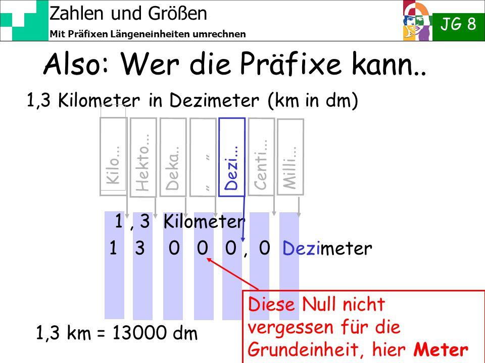 Zahlen und Größen JG 8 Mit Präfixen Längeneinheiten umrechnen 1,3 Kilometer in Dezimeter (km in dm) Also: Wer die Präfixe kann.. 1, 3 Kilometer Kilo..