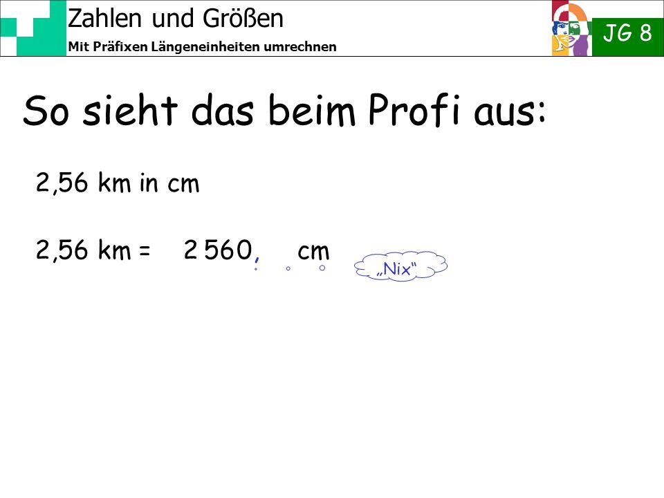 """Zahlen und Größen JG 8 Mit Präfixen Längeneinheiten umrechnen So sieht das beim Profi aus: 2,56 km in cm 2,56 km = 2 56 cm """"Nix"""" 0,0,"""