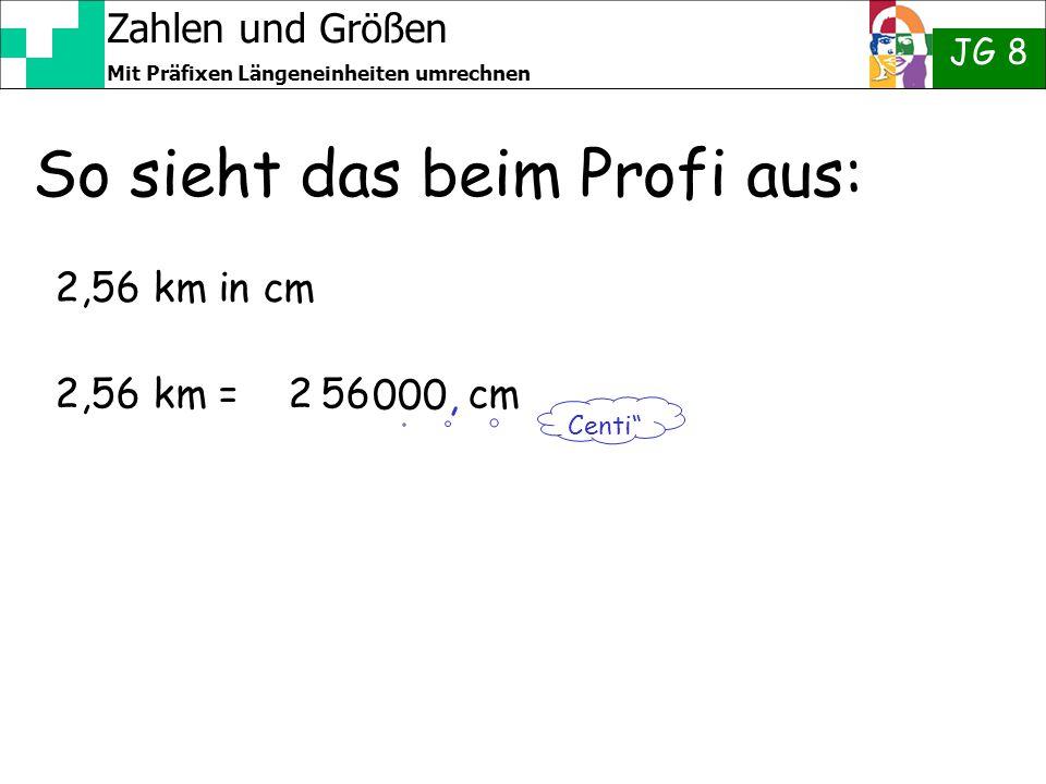 """Zahlen und Größen JG 8 Mit Präfixen Längeneinheiten umrechnen So sieht das beim Profi aus: 2,56 km in cm 2,56 km = 2 56 cm Centi"""" 000,"""