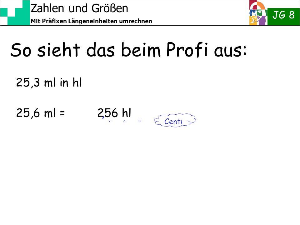 Zahlen und Größen JG 8 Mit Präfixen Längeneinheiten umrechnen So sieht das beim Profi aus: 25,3 ml in hl 25,6 ml = 256 hl Centi,