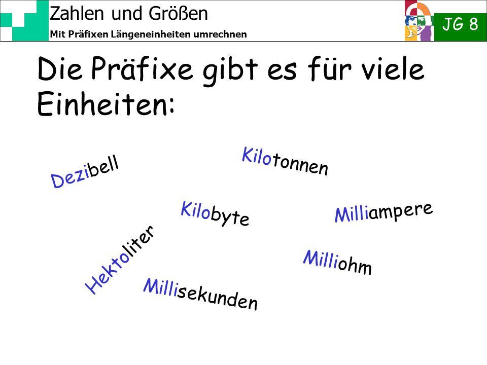 Zahlen und Größen JG 8 Mit Präfixen Längeneinheiten umrechnen Die Präfixe gibt es für viele Einheiten: Dezibell Kilotonnen Kilobyte Hektoliter Millioh