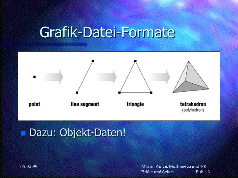 Martin Kurze: Multimedia und VR Bilder und Sehen Folie 3 05.05.99 Grafik-Datei-Formate n Dazu: Objekt-Daten!