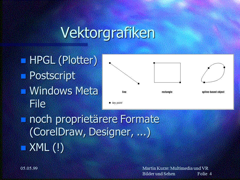 Martin Kurze: Multimedia und VR Bilder und Sehen Folie 4 05.05.99 Vektorgrafiken n HPGL (Plotter) n Postscript n Windows Meta File n noch proprietärer