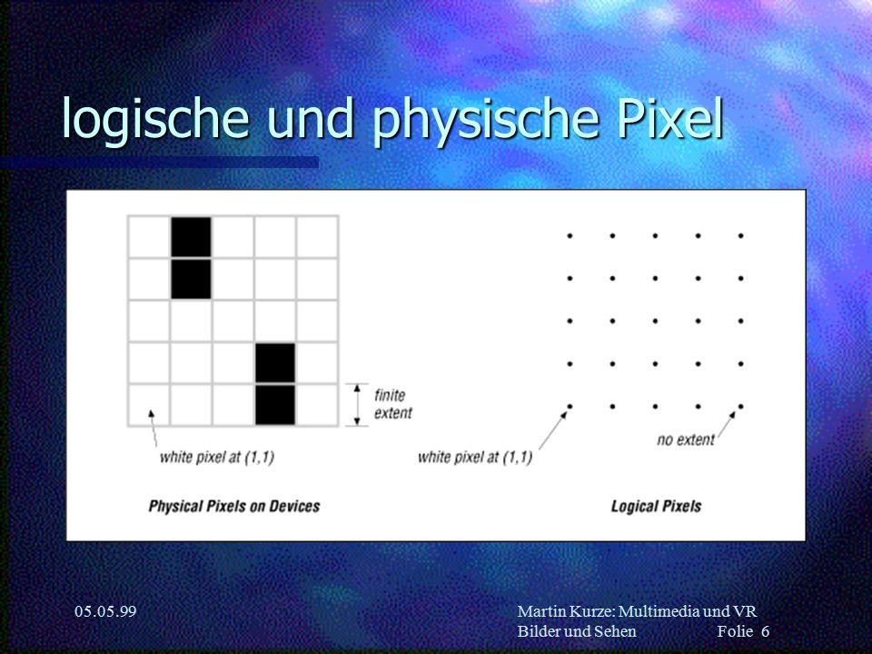 Martin Kurze: Multimedia und VR Bilder und Sehen Folie 7 05.05.99 Farb-Paletten n CLUT (color lookup table) –16,7 Mio Farben insgesamt (24 bit) –Tabelle von 256 Farben –Paletten-Index im Frame-Buffer