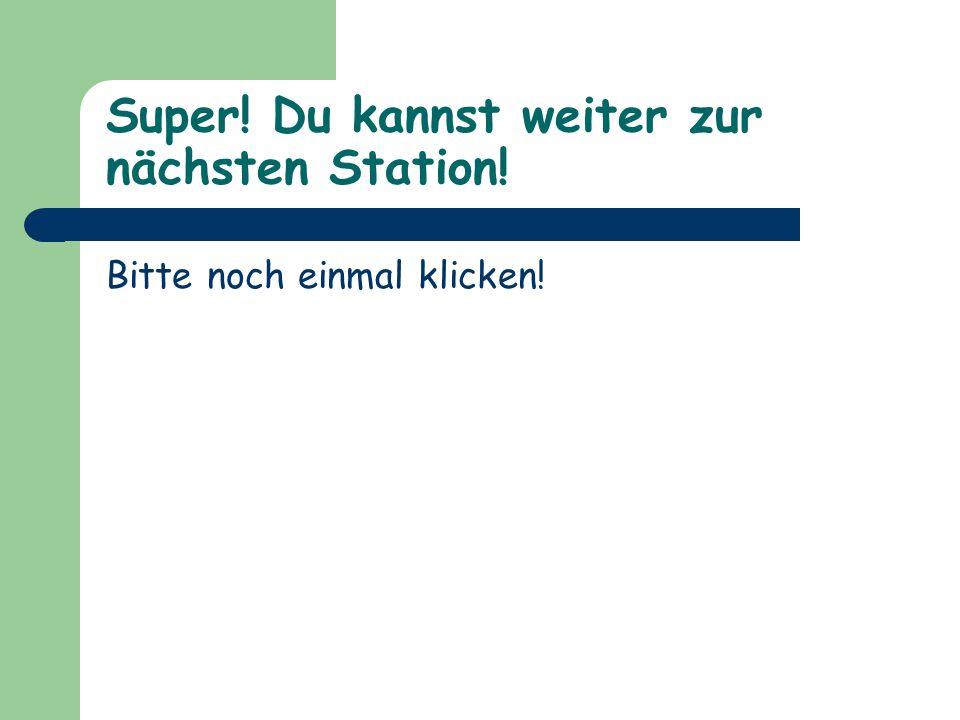 Super! Du kannst weiter zur nächsten Station! Bitte noch einmal klicken!