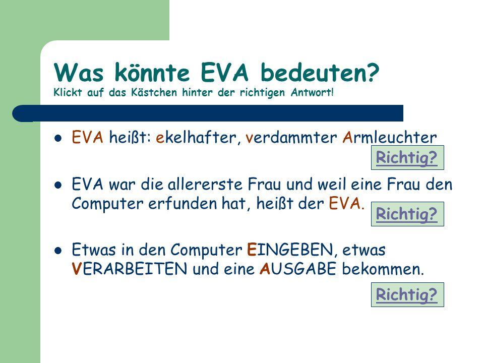 Was könnte EVA bedeuten? Klickt auf das Kästchen hinter der richtigen Antwort! EVA heißt: ekelhafter, verdammter Armleuchter EVA war die allererste Fr