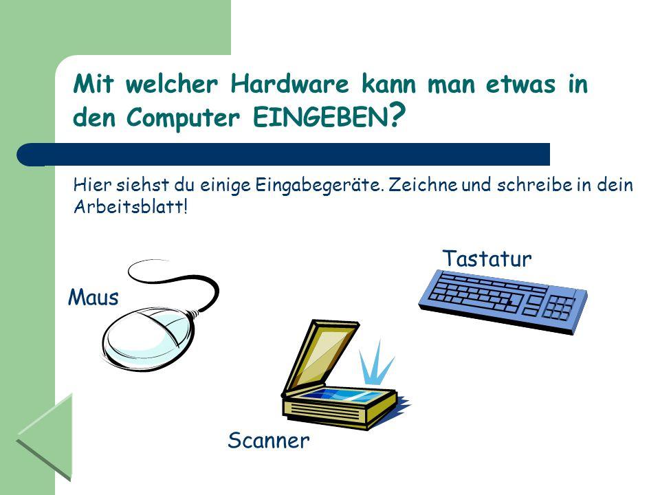 Mit welcher Hardware kann man etwas in den Computer EINGEBEN ? Hier siehst du einige Eingabegeräte. Zeichne und schreibe in dein Arbeitsblatt! Maus Ta