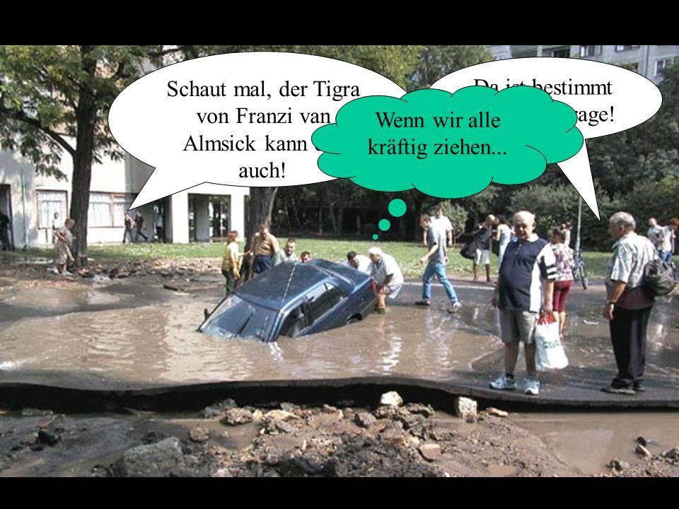 Da ist bestimmt eine Tiefgarage. Schaut mal, der Tigra von Franzi van Almsick kann das auch.