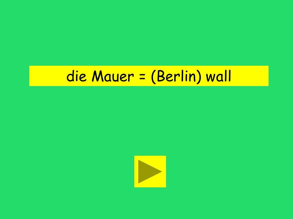 die Mauer = (Berlin) wall