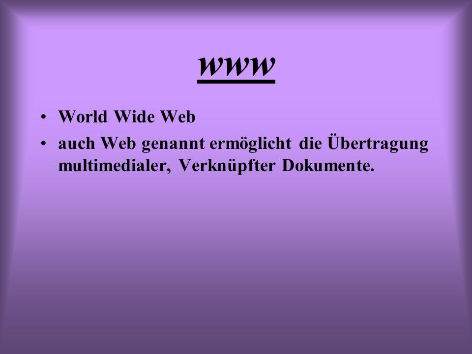 www World Wide Web auch Web genannt ermöglicht die Übertragung multimedialer, Verknüpfter Dokumente.