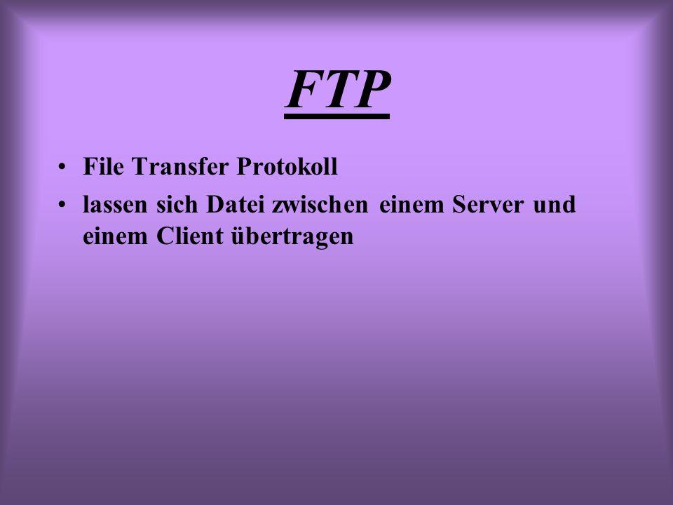 FTP File Transfer Protokoll lassen sich Datei zwischen einem Server und einem Client übertragen