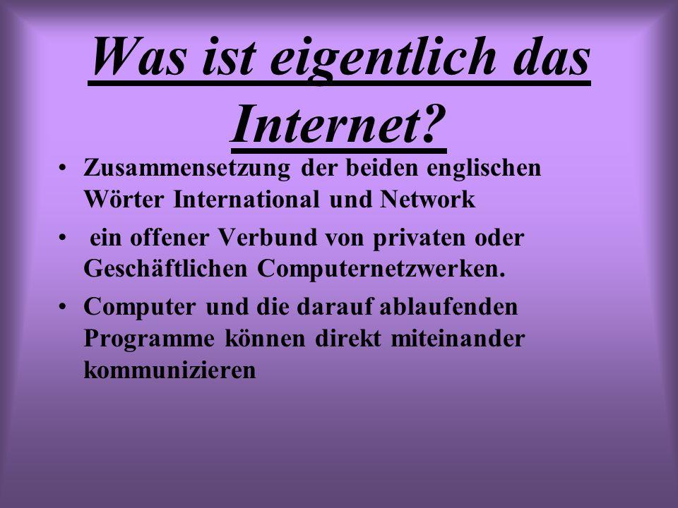 Was ist eigentlich das Internet? Zusammensetzung der beiden englischen Wörter International und Network ein offener Verbund von privaten oder Geschäft