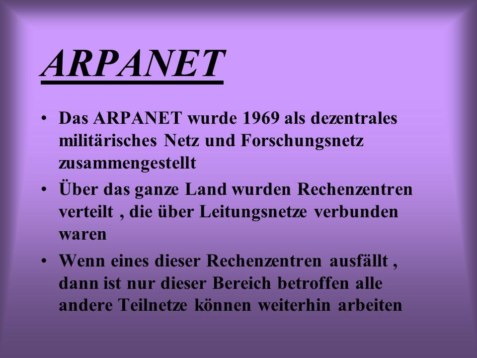 ARPANET Das ARPANET wurde 1969 als dezentrales militärisches Netz und Forschungsnetz zusammengestellt Über das ganze Land wurden Rechenzentren verteilt, die über Leitungsnetze verbunden waren Wenn eines dieser Rechenzentren ausfällt, dann ist nur dieser Bereich betroffen alle andere Teilnetze können weiterhin arbeiten