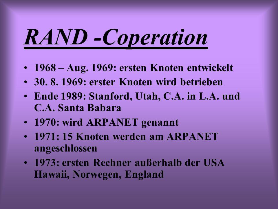 RAND -Coperation 1968 – Aug. 1969: ersten Knoten entwickelt 30. 8. 1969: erster Knoten wird betrieben Ende 1989: Stanford, Utah, C.A. in L.A. und C.A.